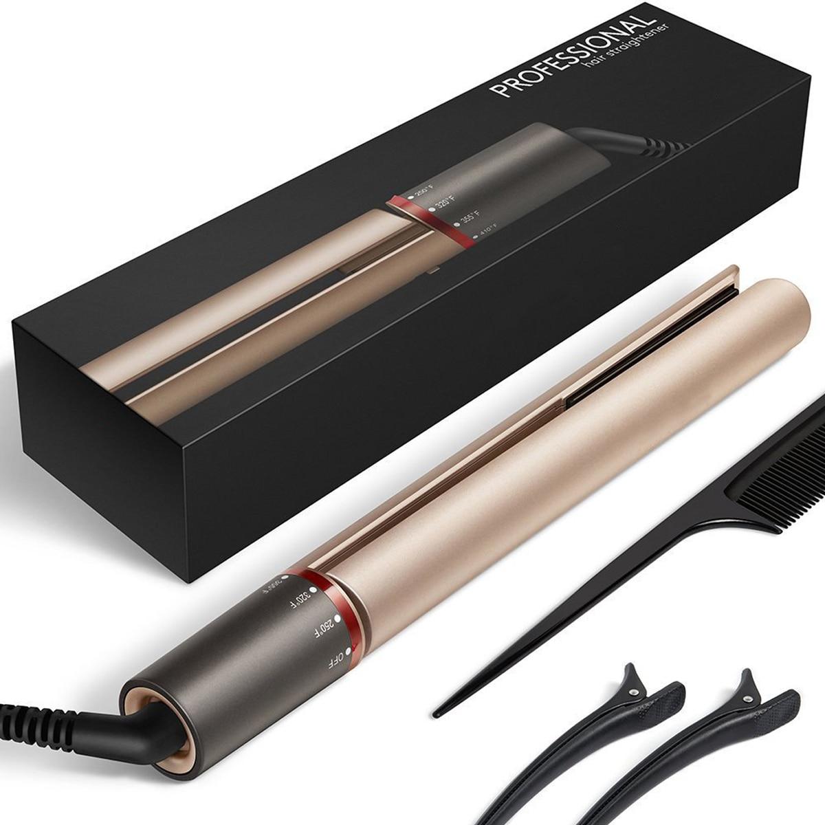 2 IN 1 Professional Hair Curler Straightener Rotating Anti Winding Fast Heating Tourmaline Ceramic Iron Hair Styling Tool Set