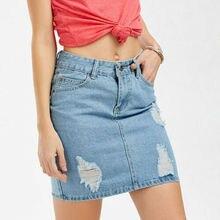 Summer Casual Skirts Summer Women's High Waist Hole Jeans Short Skirt Denim A-Line Mini Skirt Size S-XL summer high waist hole denim skirt women casual a line mini skirt streetwear jeans skirts girl