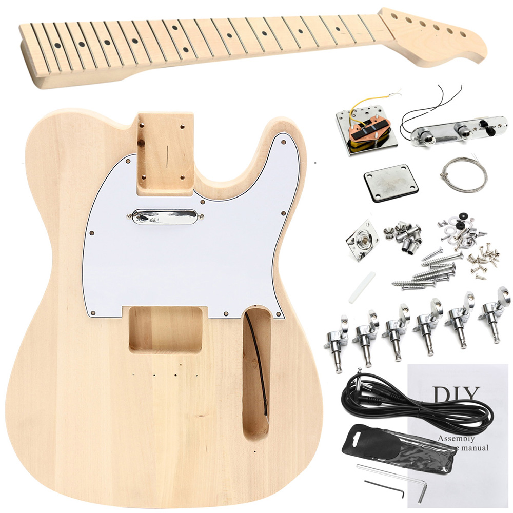 Electric Guitar Mahogany Body Rosewood Fingerboard DIY Self Assembly Kit Musical Stringed Instrument Unfinished Guitar Set