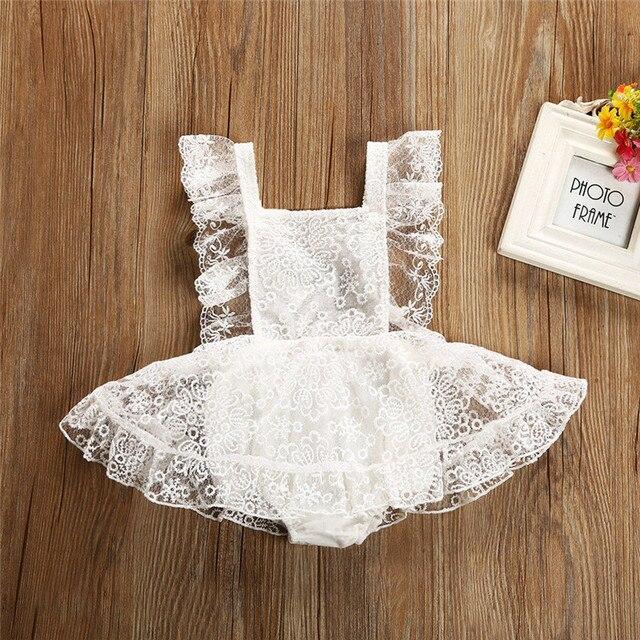 0-24 M recién nacido niños bebé Niñas Ropa verano volantes algodón Romper elegante Floral encaje tutú vestido sin espalda lindo la Princesa trajes