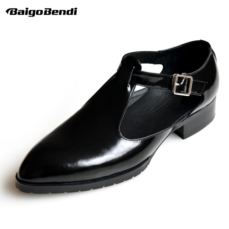 Mens Buckle Strap High Heel Shoes Heighten Wedding Shoes Business Man Close Toe Summer Trendy Oxfords Party in Oxfords from Shoes