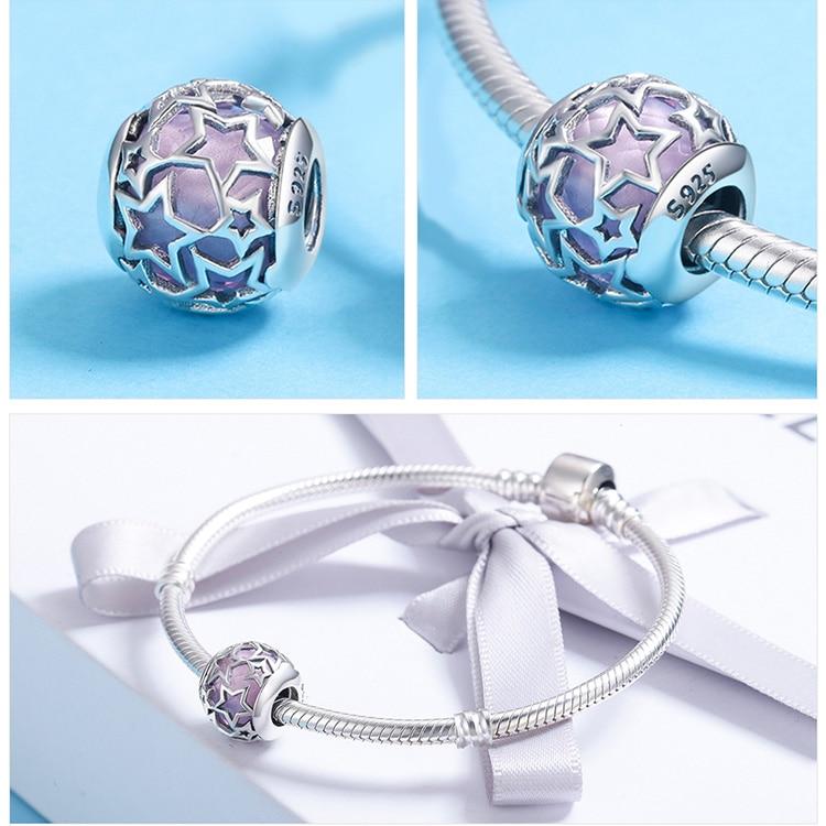 BAMOER 925 Sterling Sølv Radiant Hjerter, Himmelblå Crystal & Clear - Mode smykker - Foto 5