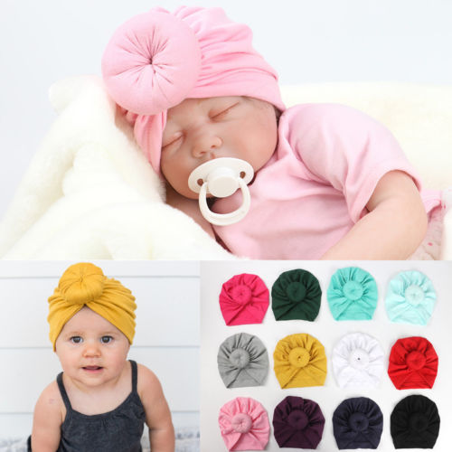 Toddler Infant Baby Kids Cotton Turban Knot Bunny Ear Hats Cap Skull Beanies Baby Girl Princess Head Wrap Headband Beanies Caps imucci 13 colors solid muslim turban cap women elastic beanies hat bandanas big satin bonnet indian women turban black red