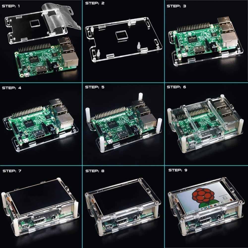 شاشة لراسبيري بي 3.5 انش تعمل باللمس جهاز مراقبة بشاشة إل سي دي مع حافظة حماية شفافة لراسبيري بي 3 2 موديل B
