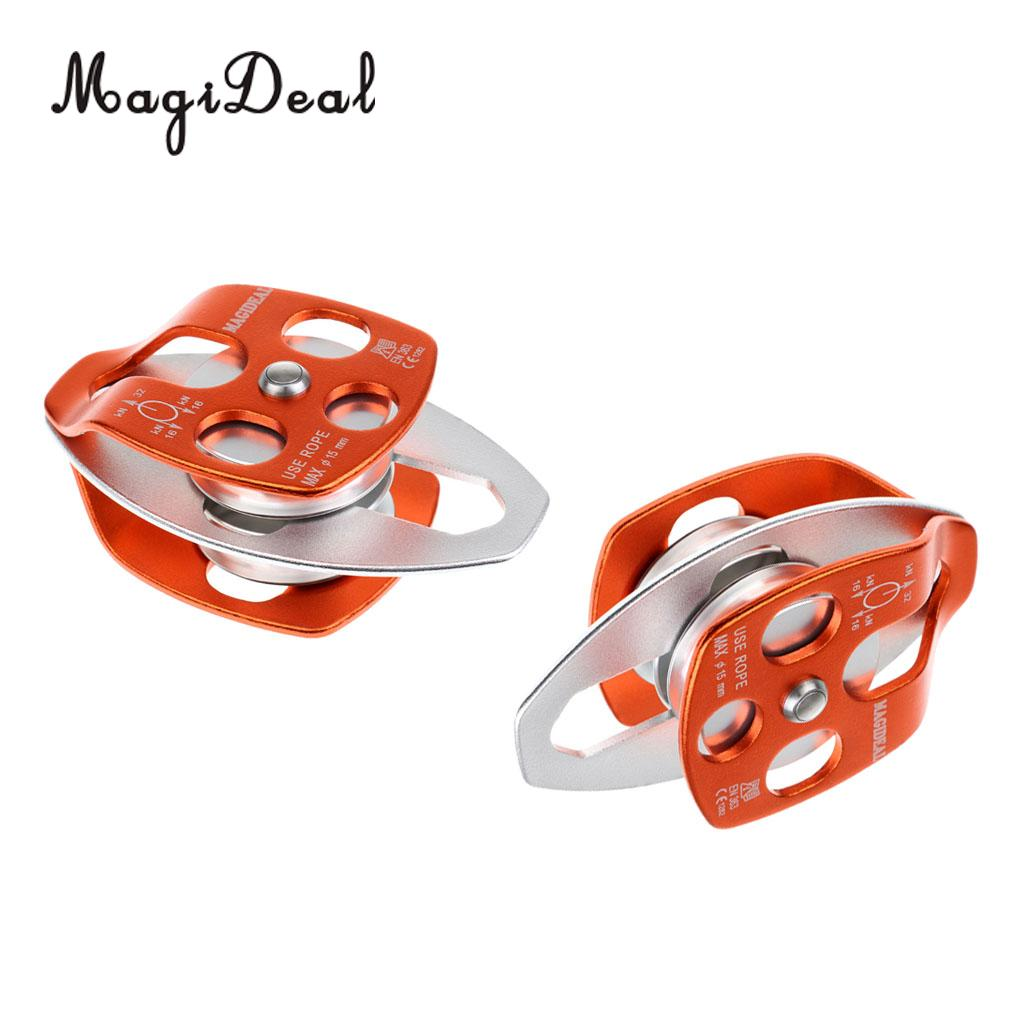 MagiDeal 32KN Rock Climbing Caving Rescue Pulley Double Sheave Orange