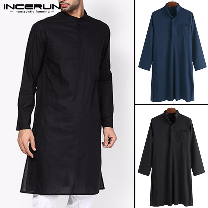 Streetwear Pullover Kurta Suits Shirt Men Dress Robe Clothes Long Sleeve Shirt Stand Collar Pakistan Islamic Kurta Man Tops NEW