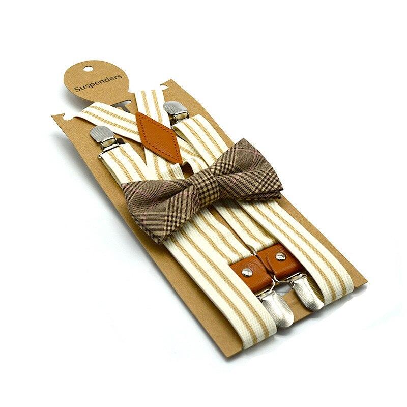 2019 High Quality Adult Four Clip 2.5cm Striped Strap Clip + Bow Tie Suit Unisex Trousers Suspenders