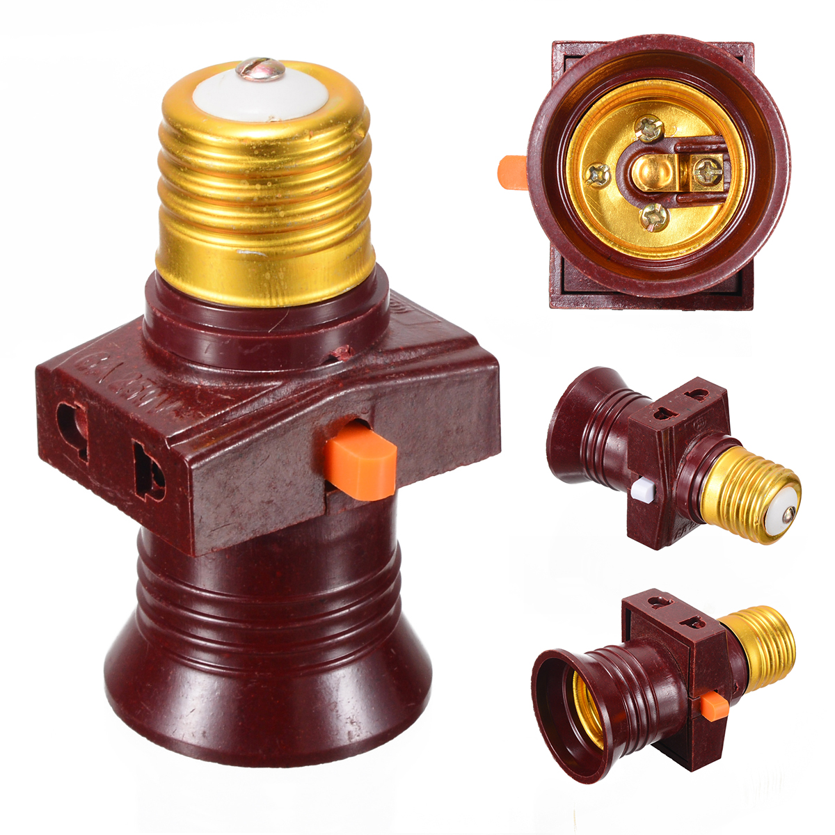 1pc 110-250V E27 Screw Lamp Base Bulb Holder Light Socket Bases With On-off Control Switch Lighting Accessories
