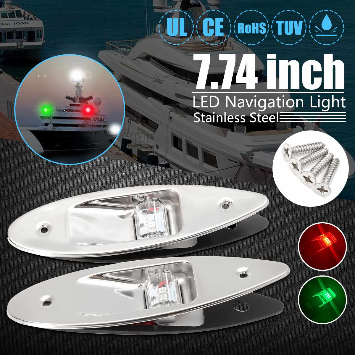 A paire 12 V universel rouge & vert étanche Marine bateau lumière LED côté marqueur Navigation affleurant lumière en acier inoxydable