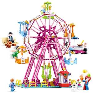 Image 4 - 놀이 공원 관람차 빌딩 블록 도시 친구 회전 목마 DIY 벽돌 아이들을위한 모델 놀이터 소녀 장난감 선물