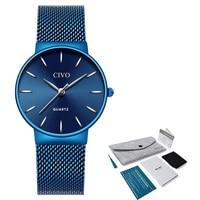 Zegarek Damski CIVO Watches Women Luxury Dress Slim Quartz Wrist Watches Waterproof Steel Mesh Ladies Clock Relogio Feminino