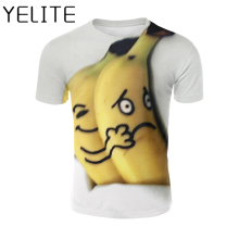 YELITE Banana T-shirt Laughing Emoji Printed T Shirt Casual Cartoon Funny Tshirt Men White Tops Clothes Summer New Short Sleeve