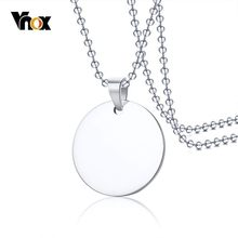 "Vnox Stainless Steel Round Dog Tag Women Men Necklaces Silver Unisex Simple Casual Pendant with 24"" Beads Chain(China)"
