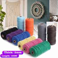 5 Color 100M 109yards Colorful DIY Long Macrame Cotton Twisted Cord Rope 3mm Hand Crafts String Braided Wire