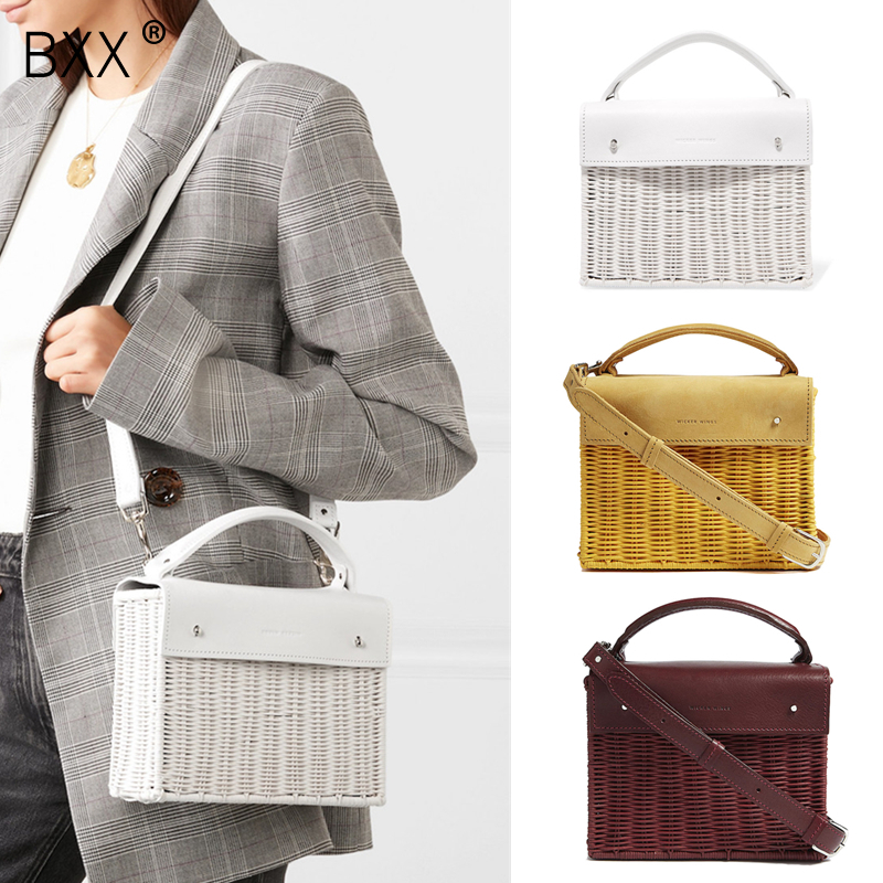 BXX 2019 New Stylish Personality Yellow Color Wide Single PU Leather Strap Straw Women Messenger
