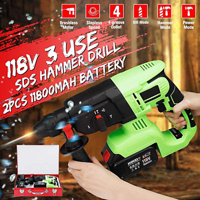 118VF Cordless SDS Martelo Elétrico Brushless Furadeira de Impacto Com 2x11800 mAh Li-ion Battery Power Broca Furadeira Elétrica ferramentas