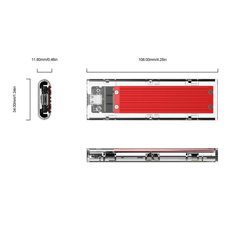 ORICO Type-c NVME M.2 HDD Boîte USB C SSD Boîtier Boîtier jusqu'à GEN2 10gbps Supprot 2 to avec Câble - 4