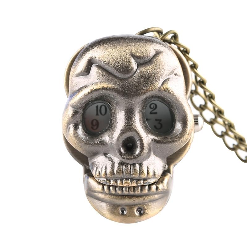 Unique Little Cute Skull Quartz Pocket Watch Retro Punk Ghost Necklace Pendant Clock Gifts For Men Women Children Collectibles