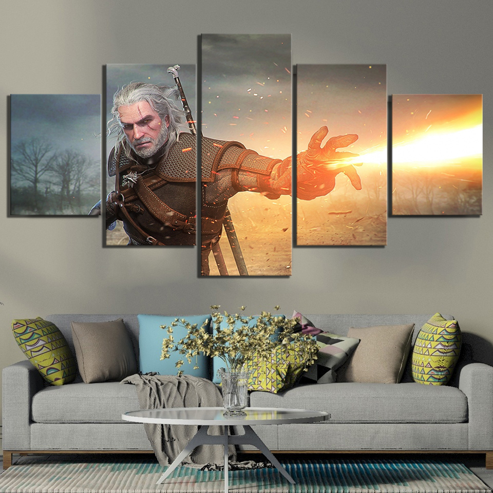 5 PieceThe Witcher 3 Wild Hunt Geralt of Rivia Video Games Poster Paintings Canvas Art Paintings Wall Art for Home Decor in Painting Calligraphy from Home Garden