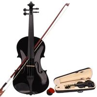 Basswood 4/4 or 1/4 Size Black Acoustic Violin with Carrying Case + Bow + Rosin for Violin Beginners Children Gift