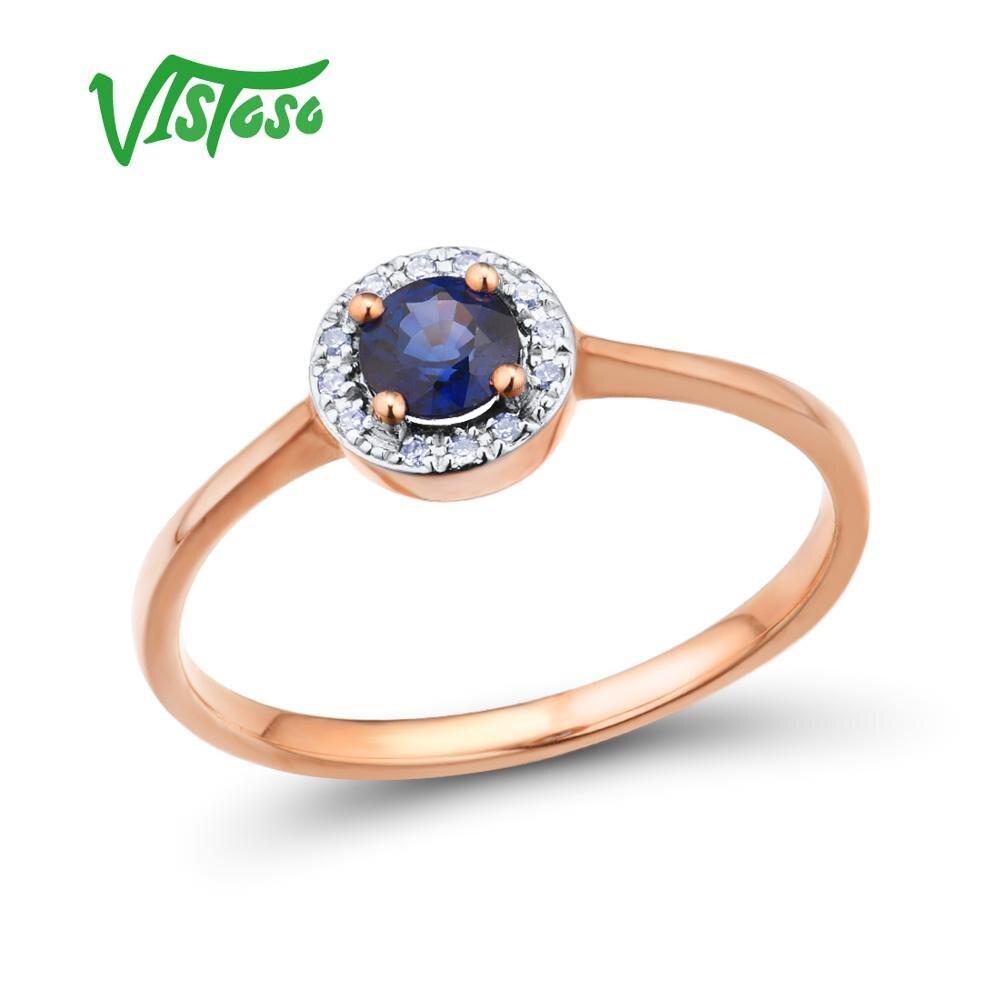 Vistoso 여성을위한 골드 반지 순수한 14 k 585 로즈 골드 반지 스파클링 다이아몬드 라운드 블루 사파이어 럭셔리 웨딩 밴드 파인 쥬얼리-에서반지부터 쥬얼리 및 액세서리 의  그룹 1