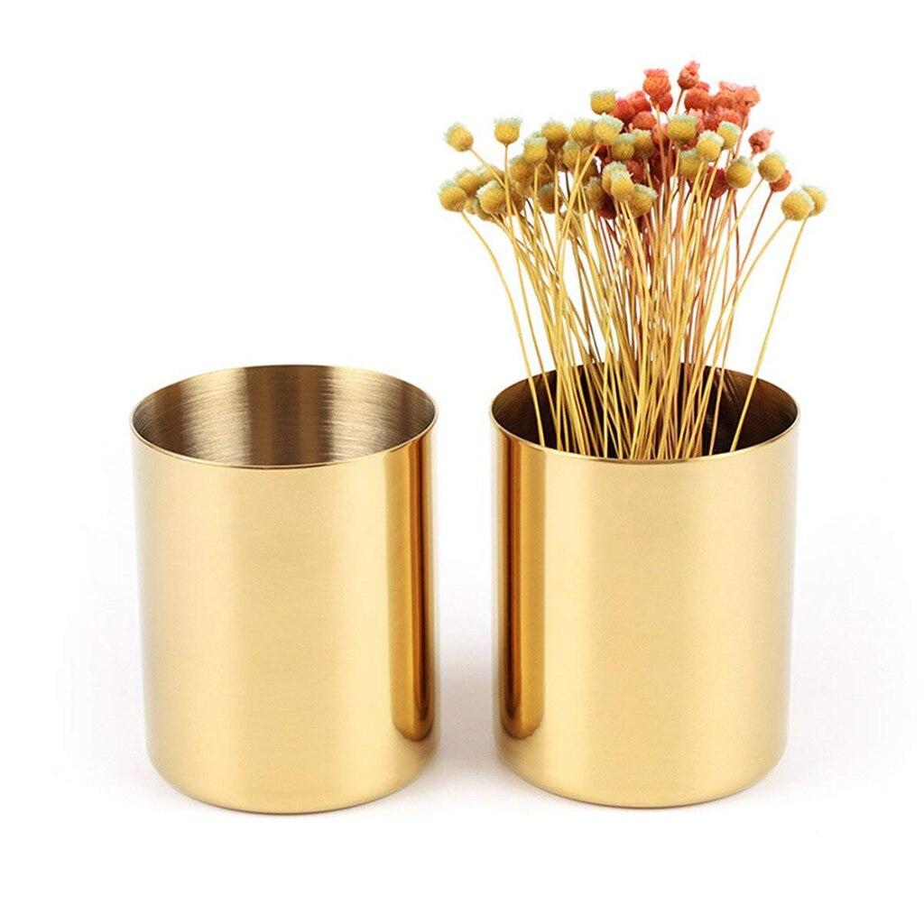 Modern Gold Round Metal Pencil Holder Pen Pot Desktop ...