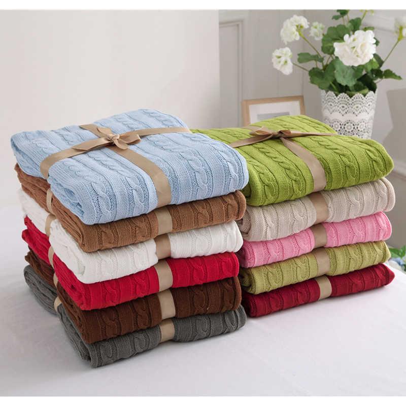 100% хлопок высокое качество Одеяло ручной работы мягкие трикотажные сплошной Цвет трикотажное покрывало-плед на диван-кровать плоскости теплые покрывала 25