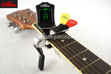 Alice AE7D/SL-A2 Multifunctional Guitar Capo With Color LCD Digital Tuner And Guitar Picks Holder Free Shipping цена