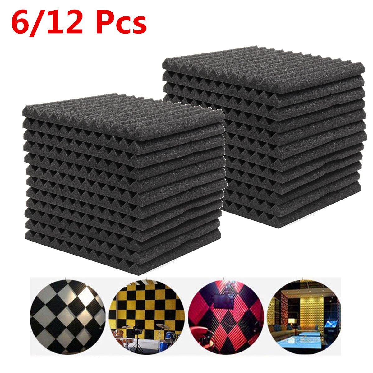 6Pcs/12Pcs Soundproofing Foam Acoustic Foam Sound Treatment Studio Room Absorption Wedge Tiles Polyurethane Foam 300*300*25mm