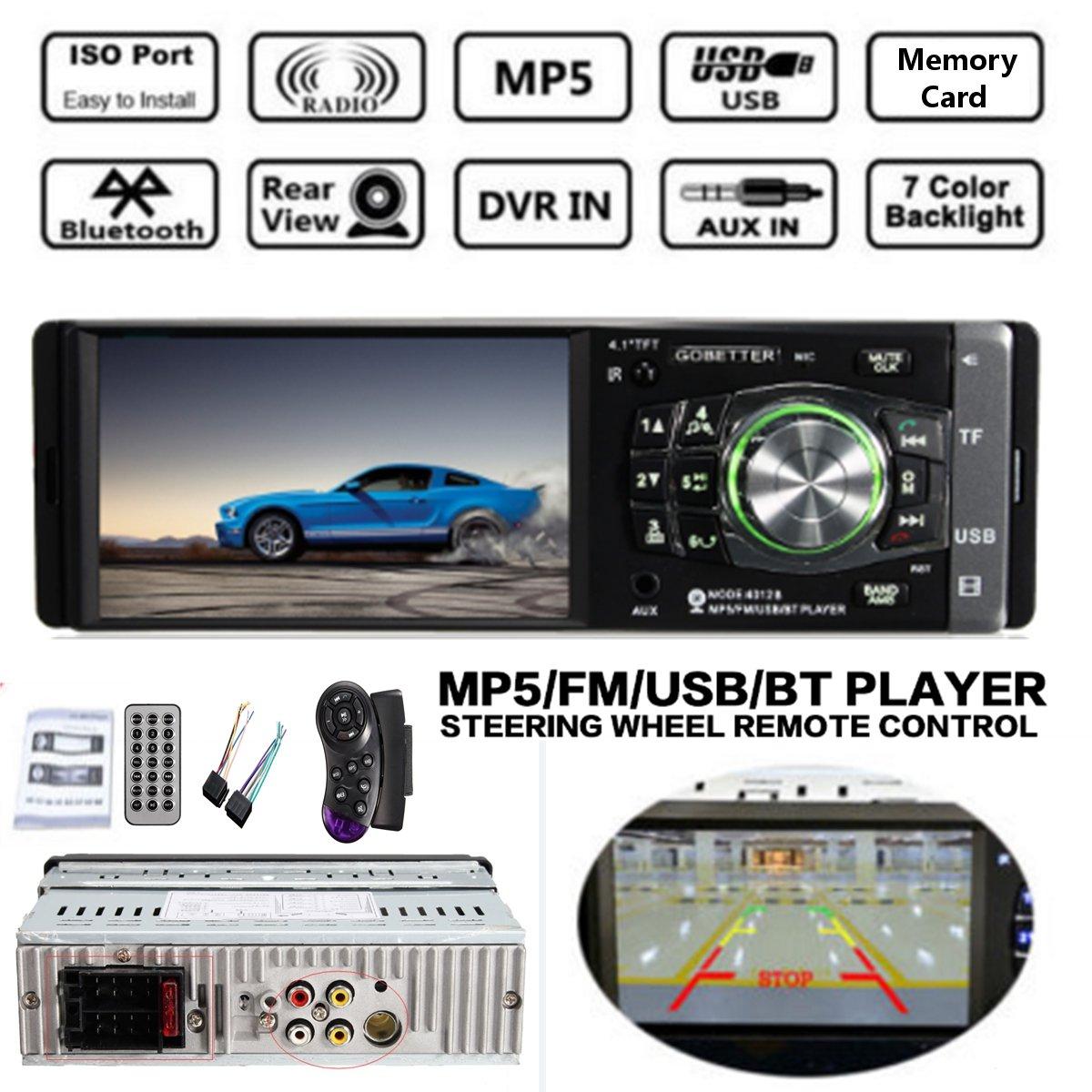4012B 4.1 pouces 1Din HD voiture MP5 lecteur Radio Audio bluetooth commande au volant Support USB/TF/AUX/FM récepteur w/sans fil Rem