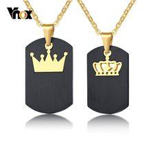 83e26375bebc Vnox negro Etiqueta de perro Collar para hombre mujer tono de oro de acero  inoxidable reina rey corona colgantes del encanto pro.