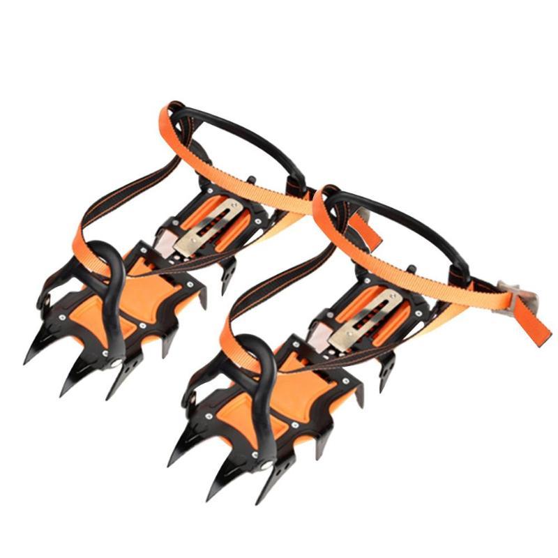 12 Crampons hiver pinces à chaussures d'escalade sur glace Crampons antidérapants Crampons à neige en acier au manganèse