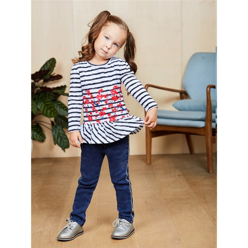 [Available with 10.11] T-shirt knitted long sleeve for girls blue lace details grid round neck long sleeves t shirt