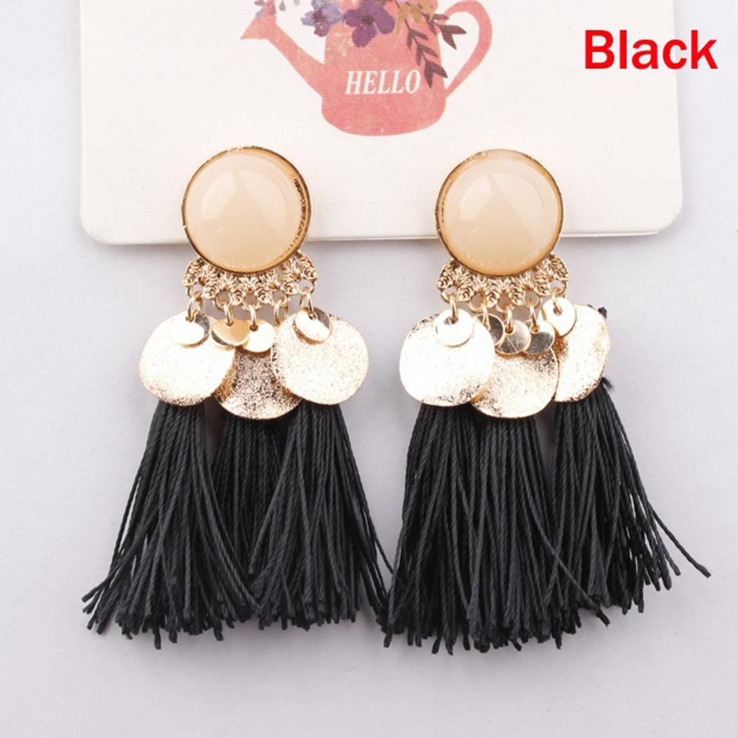 Bohemia 1 Elegant 6inch Casual Geometric Tassel Dangle 7cm Back Push Pierced Women Earrings Drop Earrings