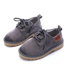 New Spring/Autumn Children Leather Shoes Boys Girls Nubuck England Retro Baby Toddler Dress Kids Flats 02B