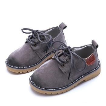 New SpringAutumn Children Leather Shoes Boys Girls Nubuck Leather England Retro Baby Shoes Toddler Dress Shoes Kids Flats 02B Обувь