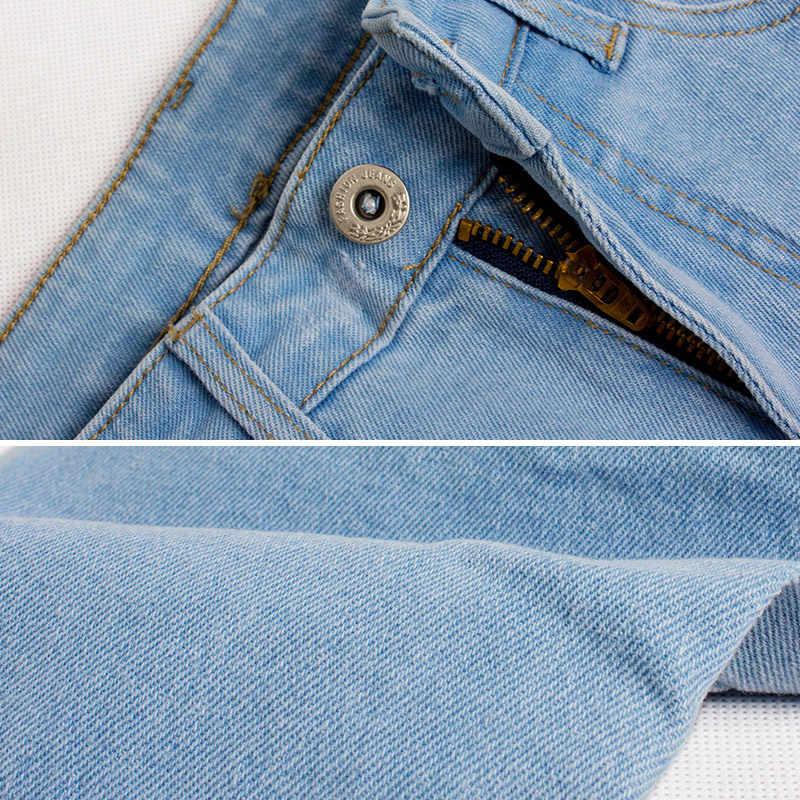 Женские джинсы с высокой талией, высокие женские брюки-карандаш капри, обтягивающие джинсовые брюки, светло-голубой топ, большой размер