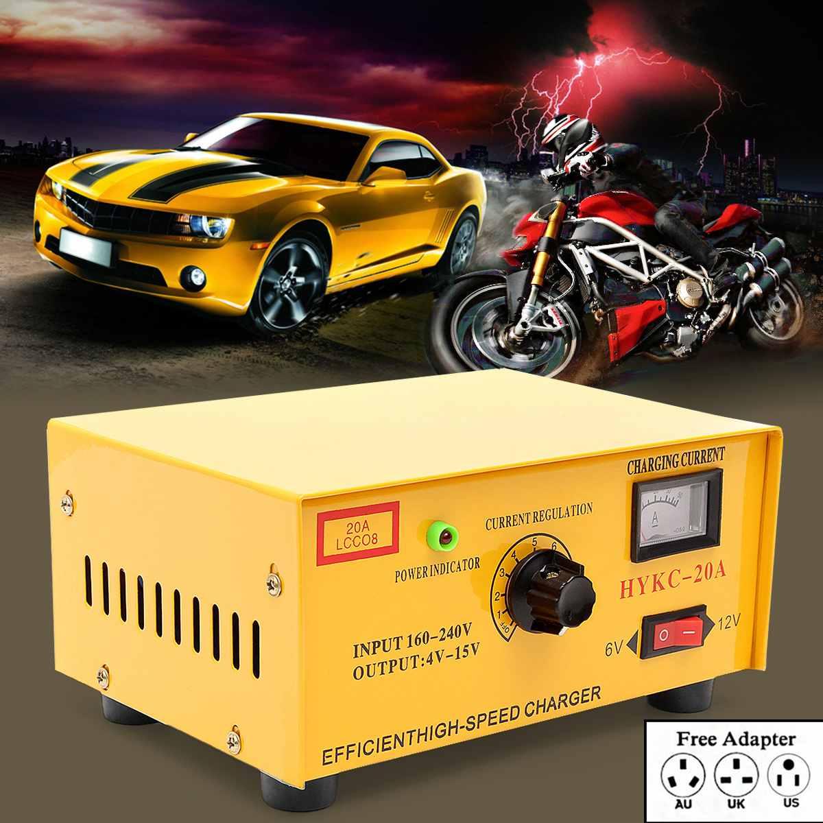 Intelligent Entièrement Automatique chargeur de batterie De Voiture 20A Réparation D'impulsion Type Intelligent Rapide Puissance De Charge pour la voiture Moto Bus