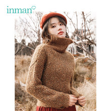 INMAN Winter New Arrival Female High Collar Warm Literary Retro Woman Pullover Sweater(China)