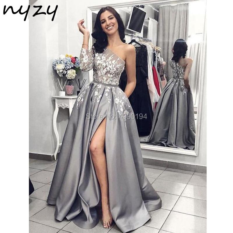 NYZY P17 One Long Sleeve Satin Dress Prom Sexy See-through High Slit Leg Cut Gray Lace Formal Dress Elegant Vestido Robe 2019