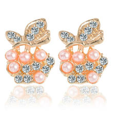 2018 New Arrival Apple Earrings Fruit Gold Color Stud Earring Pink Pearl Japanese Earrings Women Jewelry Fashion Accessories(China)