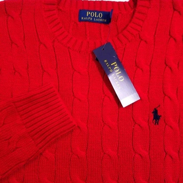 a642dba3104b86 POLO RALPH LAUREN MEN'S SWEATER RED CABLE KNIT COTTON SZ S NWT $99 ...