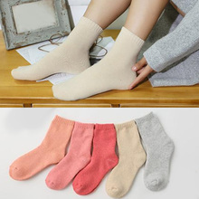 1/5 Pairs Soft Comfortable Socks Warm Women Thicken Thermal Winter Wool Cashmere Solid Lady Fashion Candy Color Sock