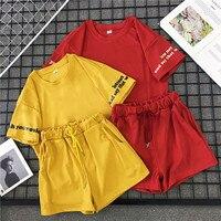 Mooirue/женский комплект из 2 предметов, летний костюм, корейский студенческий модный костюм-двойка, шорты с буквенным принтом + шорты на шнурке,...