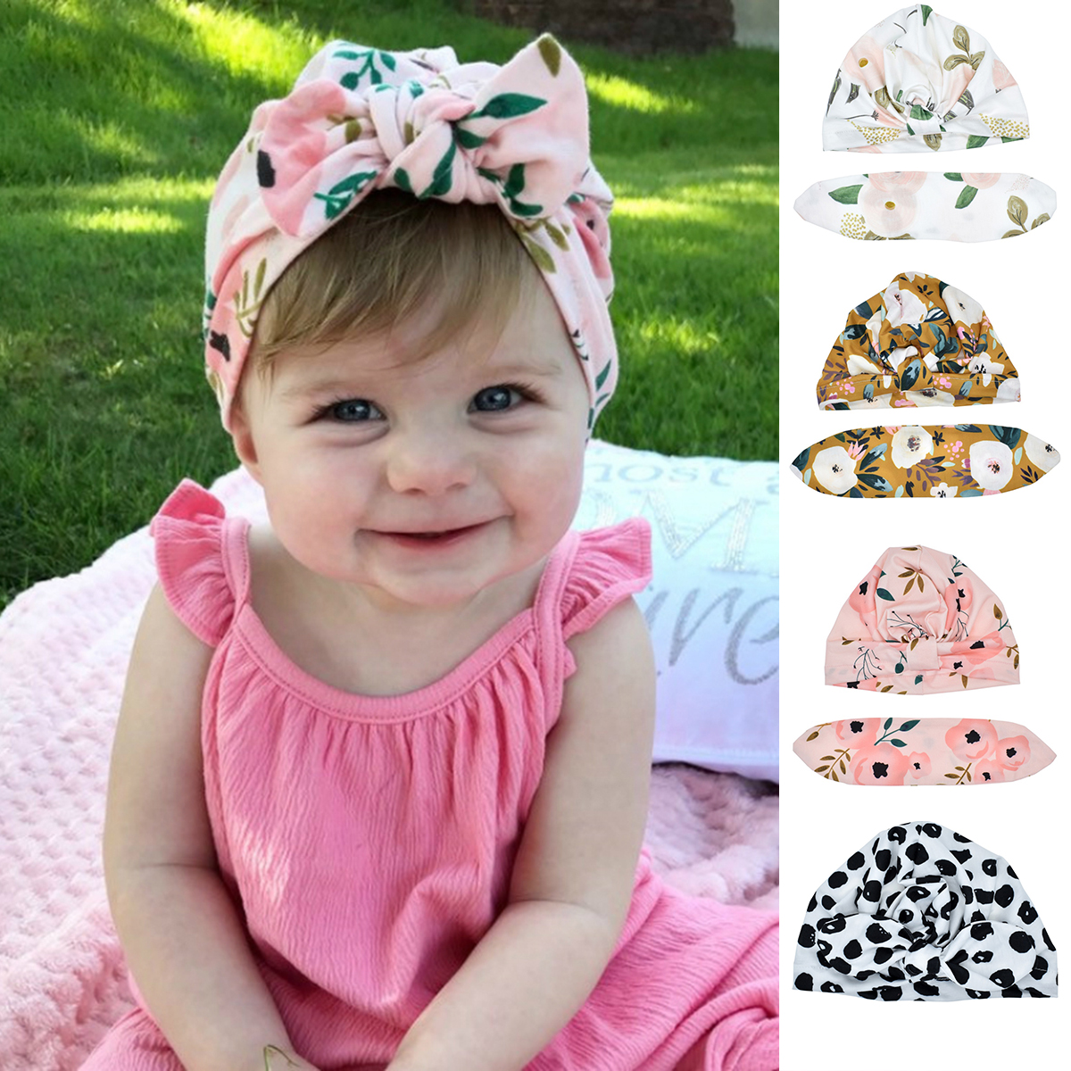 Newborn Baby Infant Girl Boy Hats Bowknot Hospital Cap Beanie Hat 100/% Cotton UK
