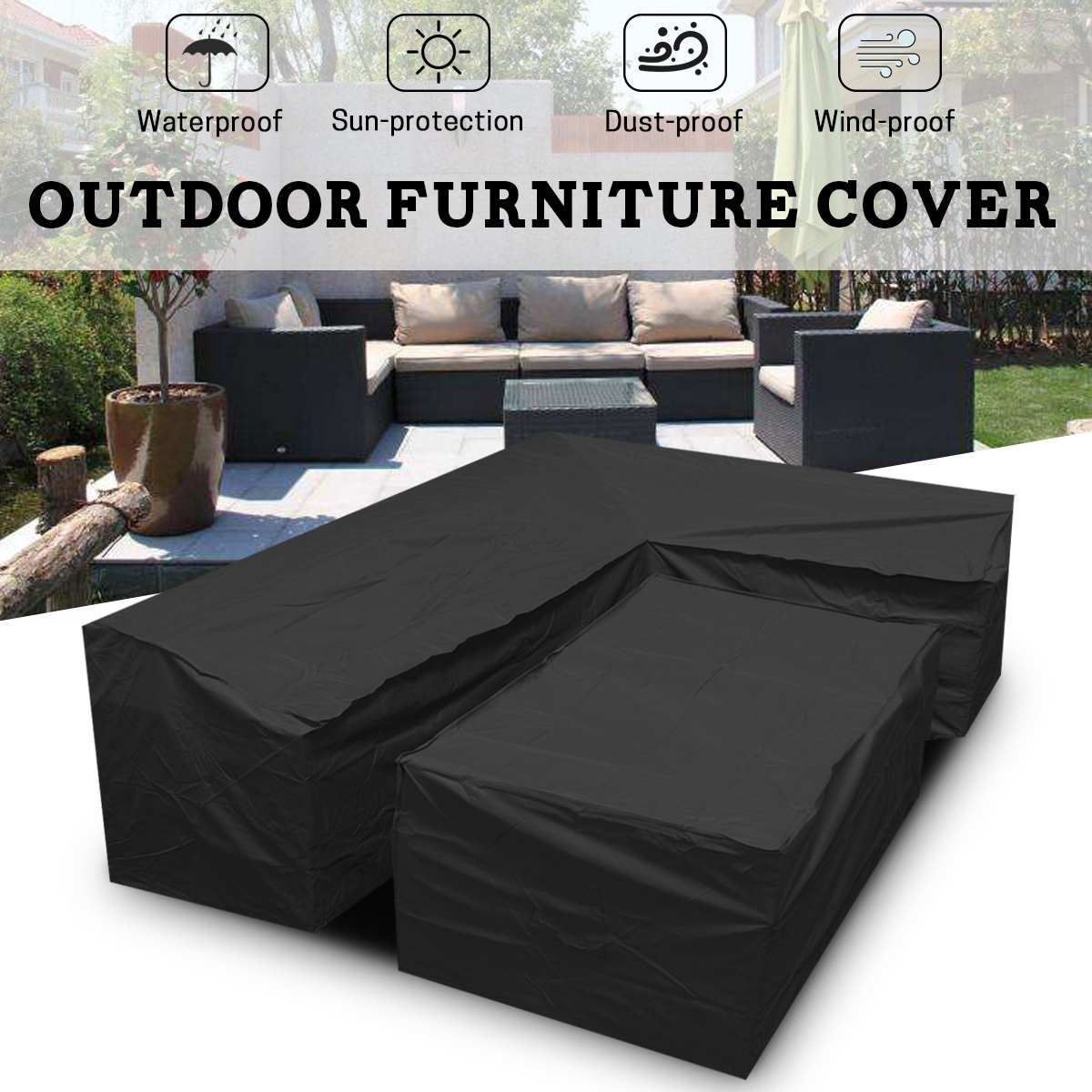 2pcs Waterproof Outdoor Patio Garden L Shape Furniture Covers Rain Snow Chair Covers Sofa Table Chair