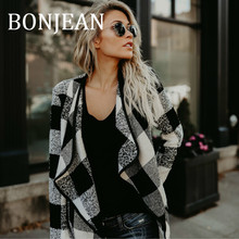 BONJEAN Plaid Coats for Women 2018 Autumn Clothing Turn-Down Collar Jacket Open-Stick Coats Autumn Loose Jackets and Coats BJ578