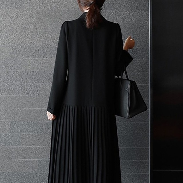 CHICEVER Patchwork Chiffon Blazer Dress Female Long Sleeve Double Breasted Pleated Dresses Autumn Korean Fashion Clothing New 3