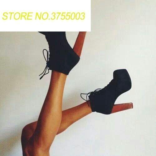 2018 г. Новые весенние модные черная замша кожа Для женщин высокая платформа ботильоны супер на массивном каблуке женские на шнуровке вечерни