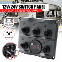 Car 5 Gang Toggle Switch Panel with Fuse Waterproof LED Digital Display On off Switch Panel 12 24V for Car Boat Caravan Marine